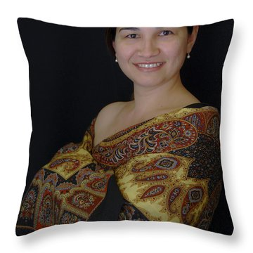 Nasiba. Girl And Her Pearls Throw Pillow