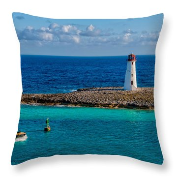 Nassau Harbor Lighthouse Throw Pillow by Christopher Holmes