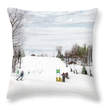 Throw Pillow featuring the painting Nastar At Seven Springs Mountain Resort by Albert Puskaric