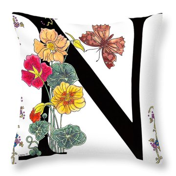 Nasturtium And Nettle-tree Butterfly Throw Pillow by Stanza Widen
