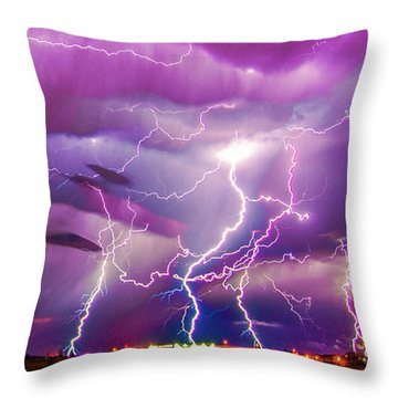 Nasty But Awesome Late Night Lightning 008 Throw Pillow