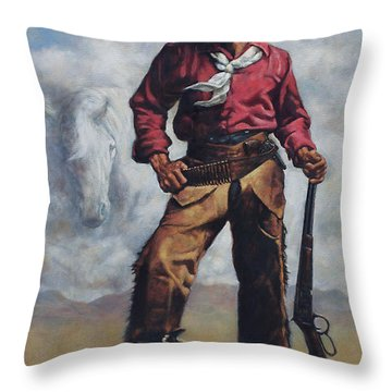 Nat Love - Aka - Deadwood Dick Throw Pillow by Harvie Brown