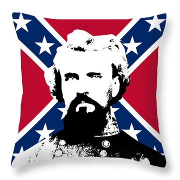 Nathan Bedford Forrest And The Rebel Flag Throw Pillow by War Is Hell Store