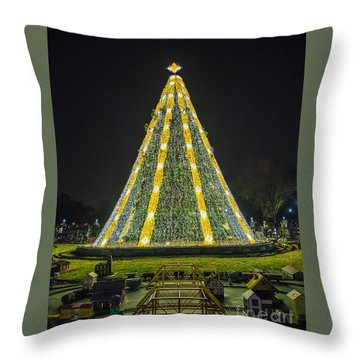 Throw Pillow featuring the photograph National Christmas Tree #1 by Sandy Molinaro