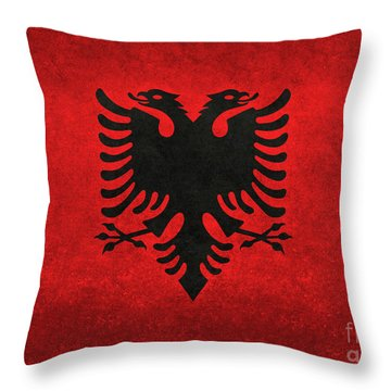 Throw Pillow featuring the digital art National Flag Of Albania With Distressed Vintage Treatment  by Bruce Stanfield