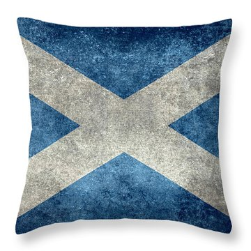 National Flag Of Scotland Vintage Version Throw Pillow
