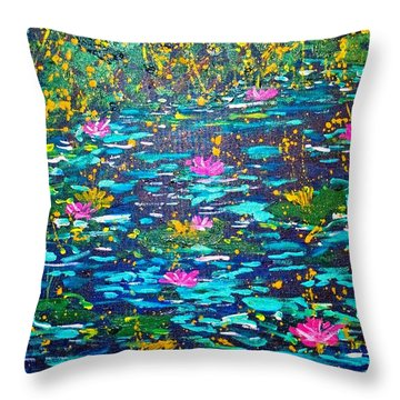 Throw Pillow featuring the painting National Flowers by Piety Dsilva