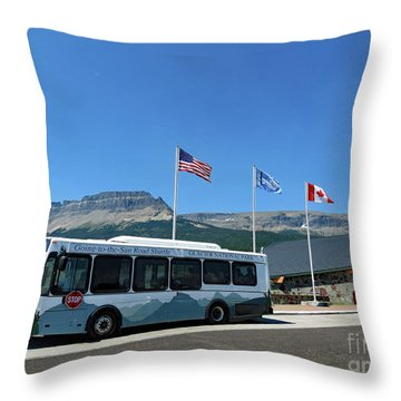Throw Pillow featuring the photograph National Parks. St. Mary Visitor Center At Glacier by Ausra Huntington nee Paulauskaite