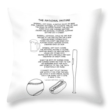 Throw Pillow featuring the drawing National Pastime by John Haldane