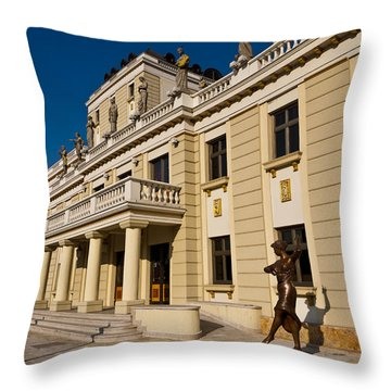 National Theater In Skopje Throw Pillow by Rae Tucker
