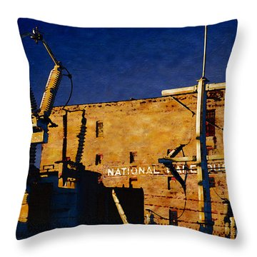 Throw Pillow featuring the digital art National Warehouse Corp by David Blank