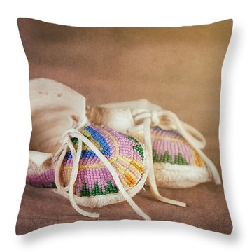 Native American Baby Shoes Throw Pillow