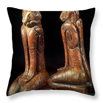 Native American Carvings Throw Pillow by Granger