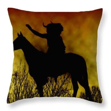 Native American Chief Throw Pillow by Bill Cannon