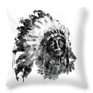 Throw Pillow featuring the mixed media Native American Chief Black And White by Marian Voicu