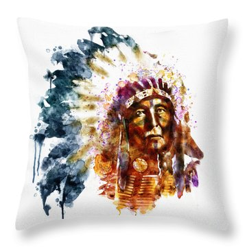 Native American Chief Throw Pillow by Marian Voicu