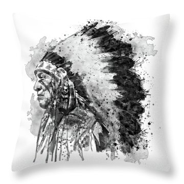 Throw Pillow featuring the mixed media Native American Chief Side Face Black And White by Marian Voicu