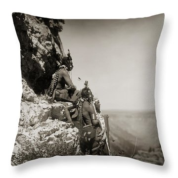 Native American Crow Men On Rock Ledge Throw Pillow by Jennifer Rondinelli Reilly - Fine Art Photography