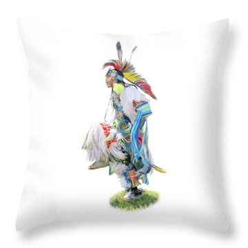 Native Pow Wow Dancer Throw Pillow