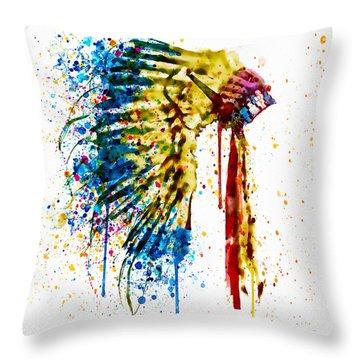 Native American Feather Headdress   Throw Pillow