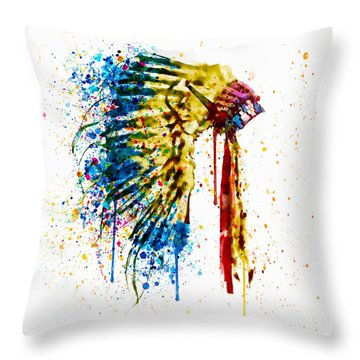 Native American Feather Headdress   Throw Pillow by Marian Voicu