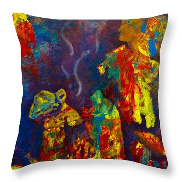 Throw Pillow featuring the painting Native American Fire Spirits by Claire Bull