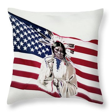Throw Pillow featuring the photograph Native American Flag by Emanuel Tanjala