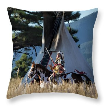 Native American In Full Headdress In Front Of Teepee Throw Pillow by Nadja Rider