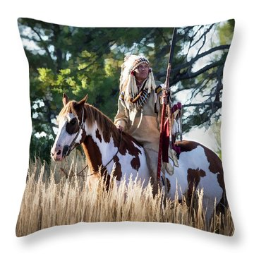Native American In Full Headdress On A Paint Horse Throw Pillow