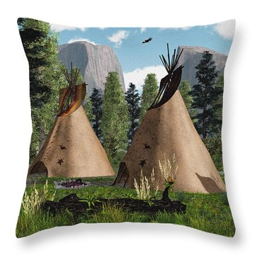 Native American Mountain Tepees Throw Pillow