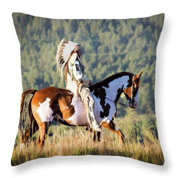 Native American On His Paint Horse Throw Pillow