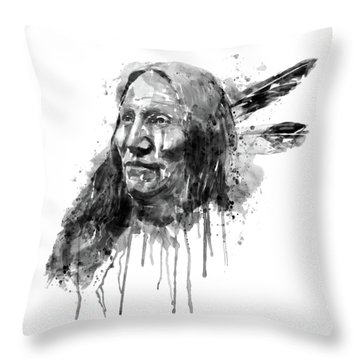 Throw Pillow featuring the mixed media Native American Portrait Black And White by Marian Voicu