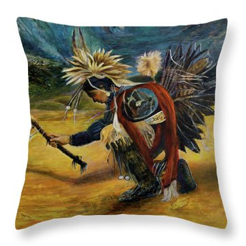Native American Rain Dance Throw Pillow