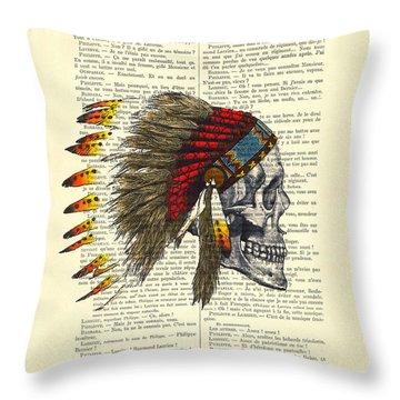 Native American Skull Throw Pillow