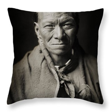 Native American Taos Indian White Clay Throw Pillow by Jennifer Rondinelli Reilly - Fine Art Photography