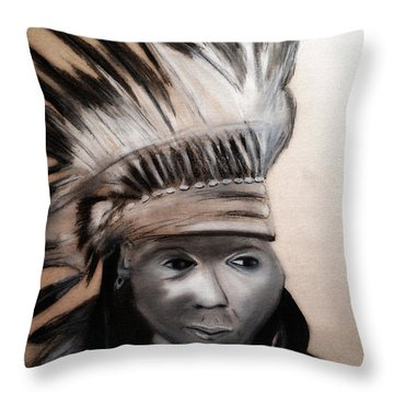 Arapaho Man With Gun. 1898. Wyoming Throw Pillow
