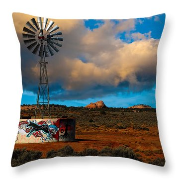 Native American Windmill Throw Pillow
