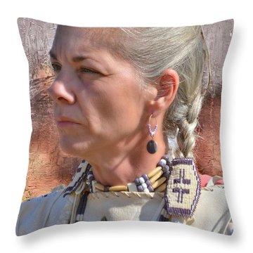 Native American Woman Throw Pillow by Kathy Baccari