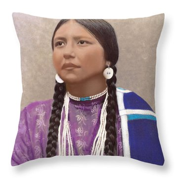Native American Woman Throw Pillow