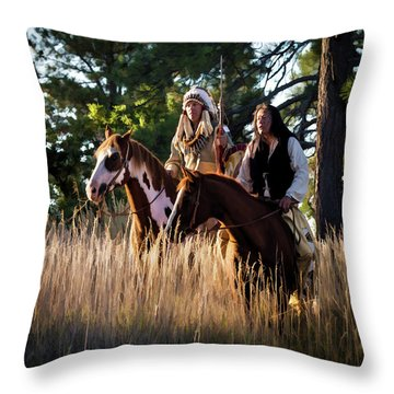 Native Americans On Horses In The Morning Light Throw Pillow