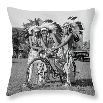 Native Americans With Bicycle Throw Pillow