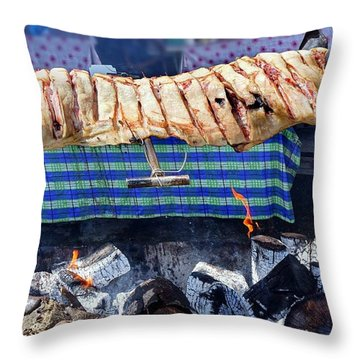 Throw Pillow featuring the photograph Native Barbecue In Taiwan by Yali Shi