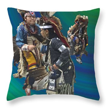 Native Children Entrance Throw Pillow by Audrey Robillard