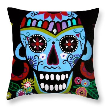 Throw Pillow featuring the painting Native Dia De Los Muertos Skull by Pristine Cartera Turkus