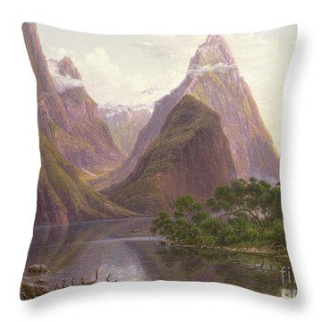 Native Figures In A Canoe At Milford Sound Throw Pillow by Eugen von Guerard