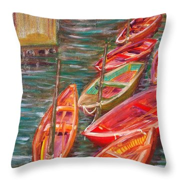 Native Fishing Boats Throw Pillow