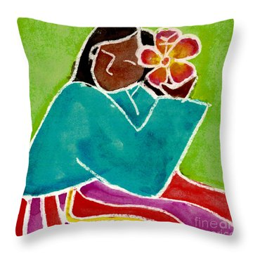 Native Girl Throw Pillow