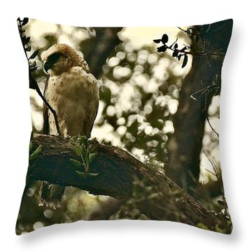 The Golden 'io Hawaiian Hawk Throw Pillow by Lehua Pekelo-Stearns