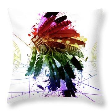 Native Headdress 2 Throw Pillow
