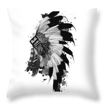 Native Headdress Black And White Throw Pillow